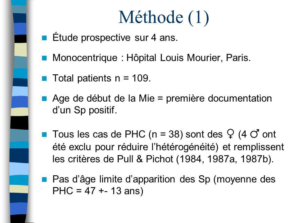 Méthode (1) Étude prospective sur 4 ans. Monocentrique : Hôpital Louis Mourier, Paris. Total patients n = 109. Age de début de la Mie = première docum