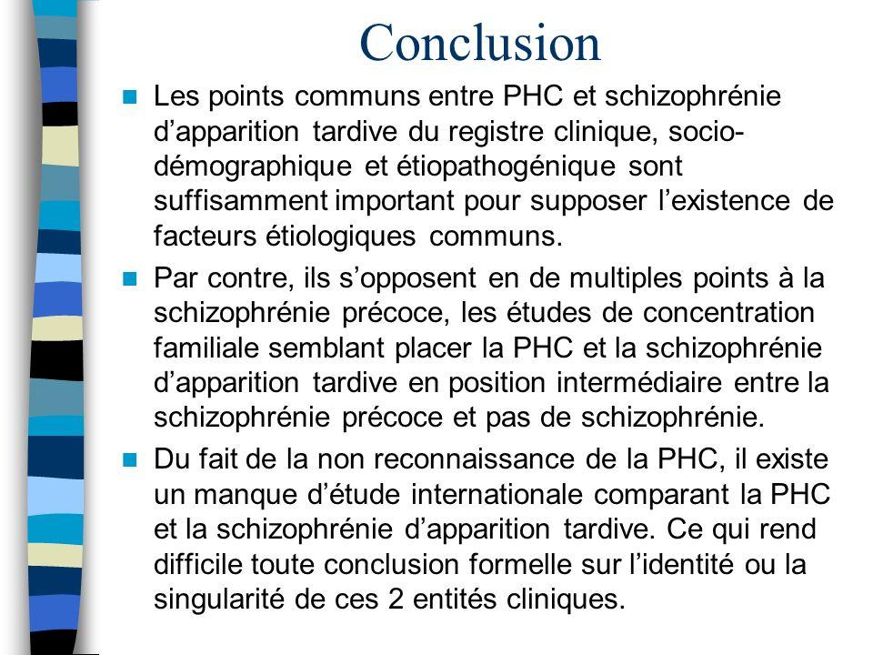 Conclusion Les points communs entre PHC et schizophrénie dapparition tardive du registre clinique, socio- démographique et étiopathogénique sont suffi