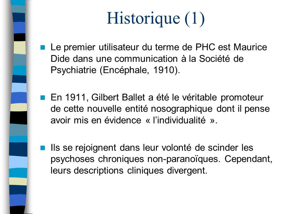 Historique (1) Le premier utilisateur du terme de PHC est Maurice Dide dans une communication à la Société de Psychiatrie (Encéphale, 1910). En 1911,
