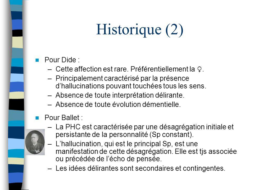 Historique (2) Pour Dide : –Cette affection est rare. Préférentiellement la. –Principalement caractérisé par la présence dhallucinations pouvant touch