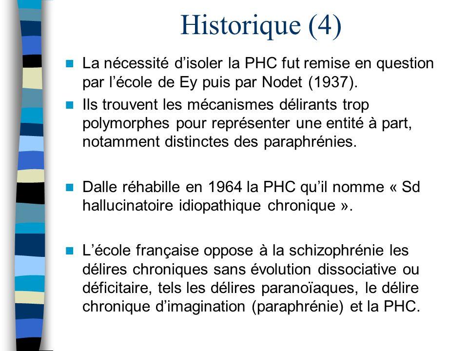 Historique (4) La nécessité disoler la PHC fut remise en question par lécole de Ey puis par Nodet (1937). Ils trouvent les mécanismes délirants trop p