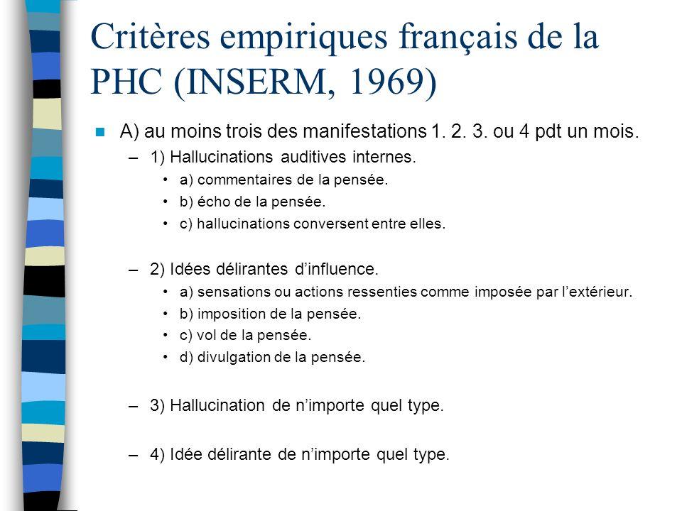 Critères empiriques français de la PHC (INSERM, 1969) A) au moins trois des manifestations 1. 2. 3. ou 4 pdt un mois. –1) Hallucinations auditives int