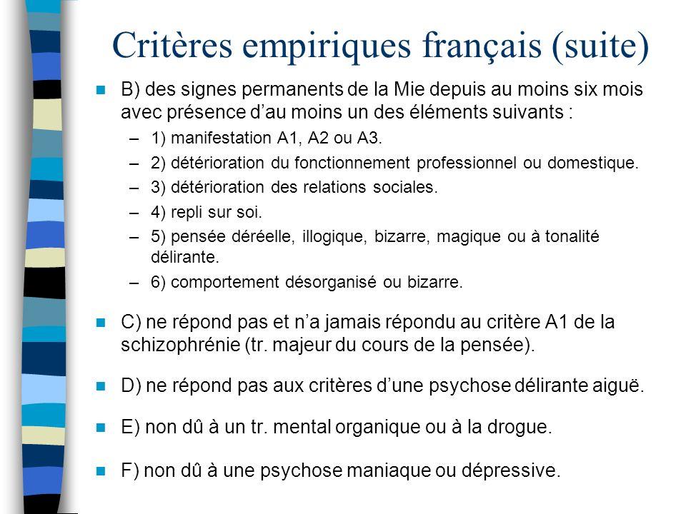 Critères empiriques français (suite) B) des signes permanents de la Mie depuis au moins six mois avec présence dau moins un des éléments suivants : –1
