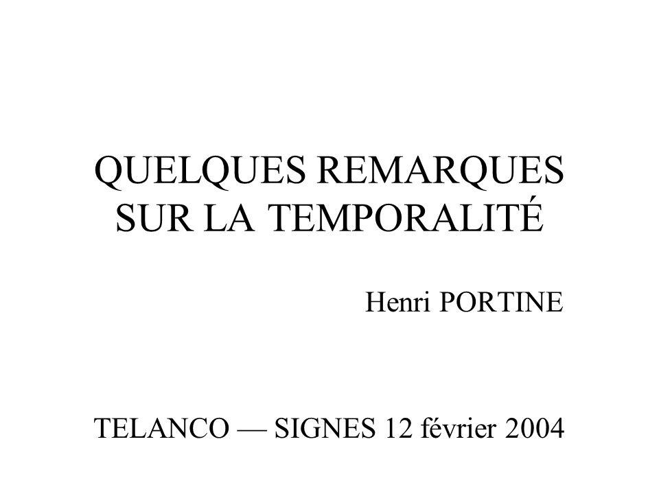 QUELQUES REMARQUES SUR LA TEMPORALITÉ Henri PORTINE TELANCO SIGNES 12 février 2004