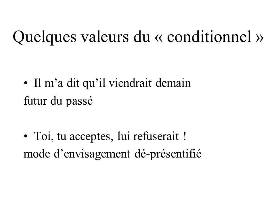 Quelques valeurs du « conditionnel » Il ma dit quil viendrait demain futur du passé Toi, tu acceptes, lui refuserait .