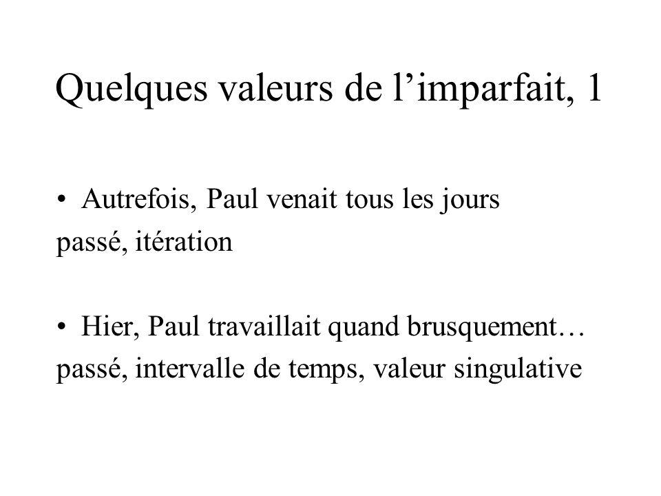 Quelques valeurs de limparfait, 1 Autrefois, Paul venait tous les jours passé, itération Hier, Paul travaillait quand brusquement… passé, intervalle de temps, valeur singulative