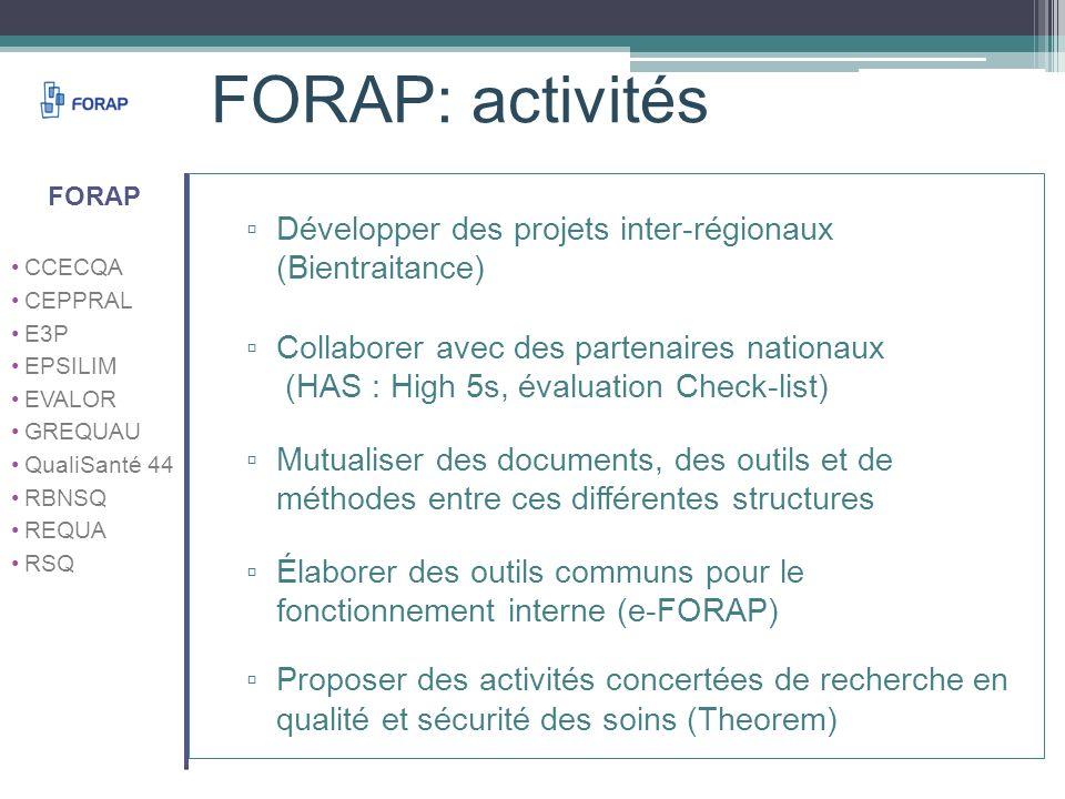 FORAP: activités Développer des projets inter-régionaux (Bientraitance) Collaborer avec des partenaires nationaux (HAS : High 5s, évaluation Check-lis