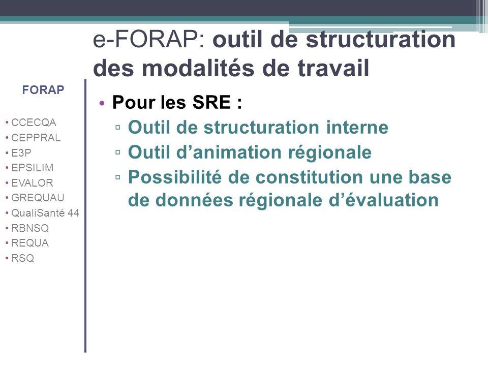 e-FORAP: outil de structuration des modalités de travail Pour les SRE : Outil de structuration interne Outil danimation régionale Possibilité de const