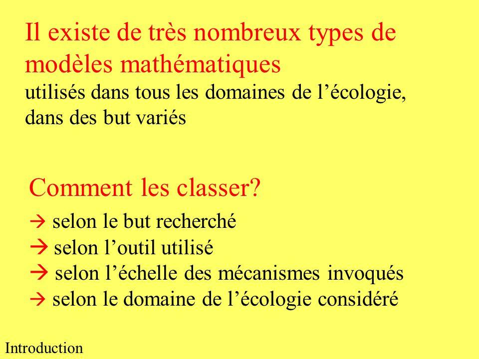 Il existe de très nombreux types de modèles mathématiques utilisés dans tous les domaines de lécologie, dans des but variés Comment les classer? selon