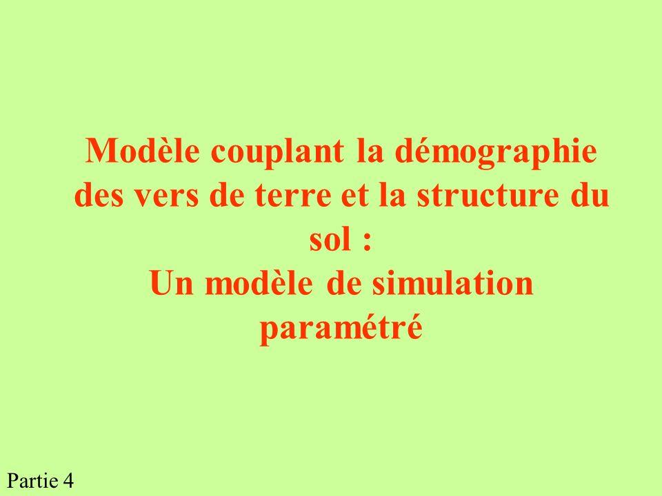 Modèle couplant la démographie des vers de terre et la structure du sol : Un modèle de simulation paramétré Partie 4