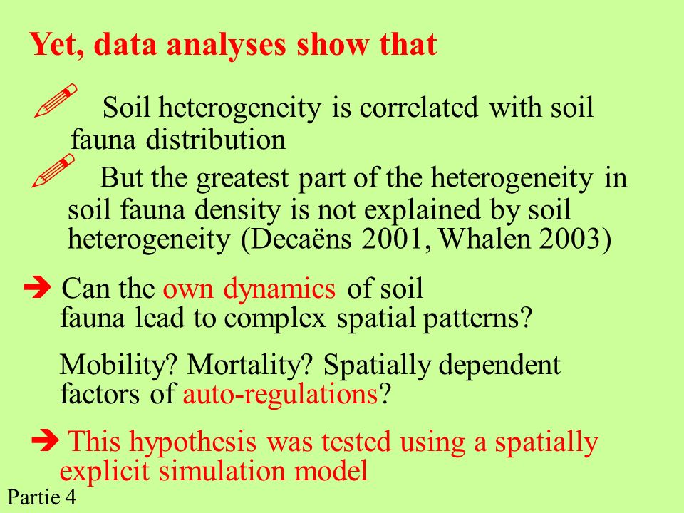 But the greatest part of the heterogeneity in soil fauna density is not explained by soil heterogeneity (Decaëns 2001, Whalen 2003) Yet, data analyses
