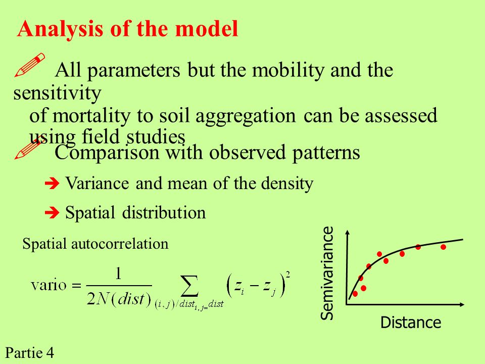 Analysis of the model Comparison with observed patterns Variance and mean of the density Spatial distribution Distance Semivariance All parameters but