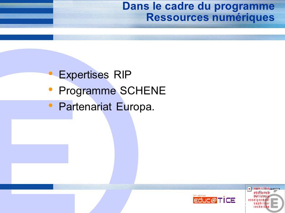 E 10 Dans le cadre du programme Ressources numériques Expertises RIP Programme SCHENE Partenariat Europa.