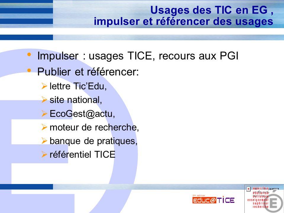 E 8 Usages des TIC en EG, impulser et référencer des usages Impulser : usages TICE, recours aux PGI Publier et référencer: lettre TicEdu, site nationa