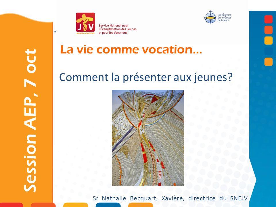 La vie comme vocation… Session AEP, 7 oct Sr Nathalie Becquart, Xavière, directrice du SNEJV Comment la présenter aux jeunes?