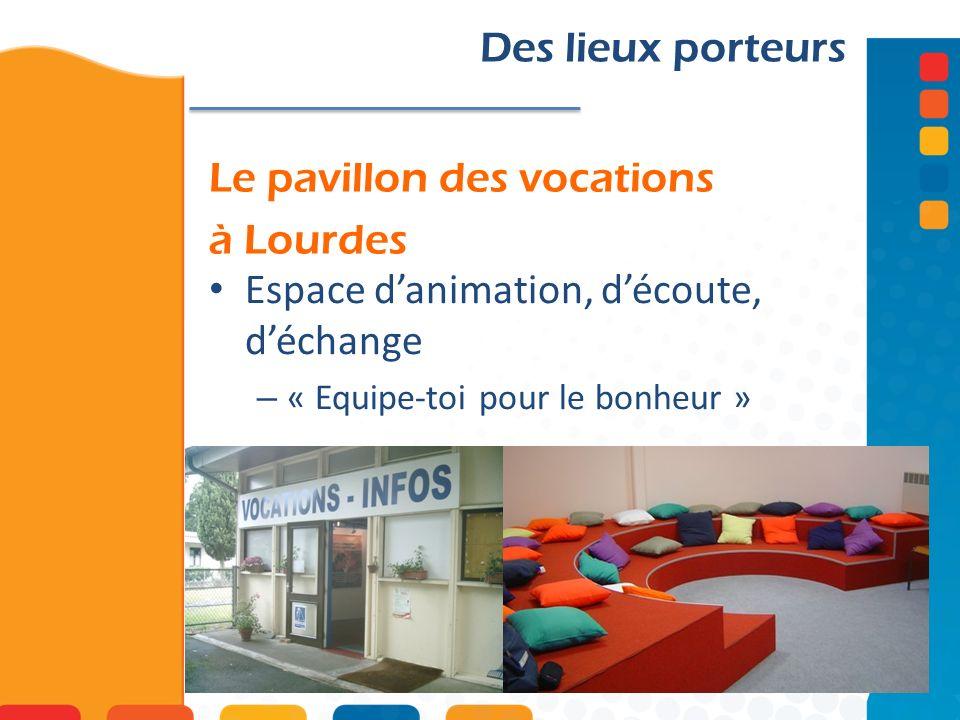 Le pavillon des vocations à Lourdes Des lieux porteurs Espace danimation, découte, déchange – « Equipe-toi pour le bonheur »
