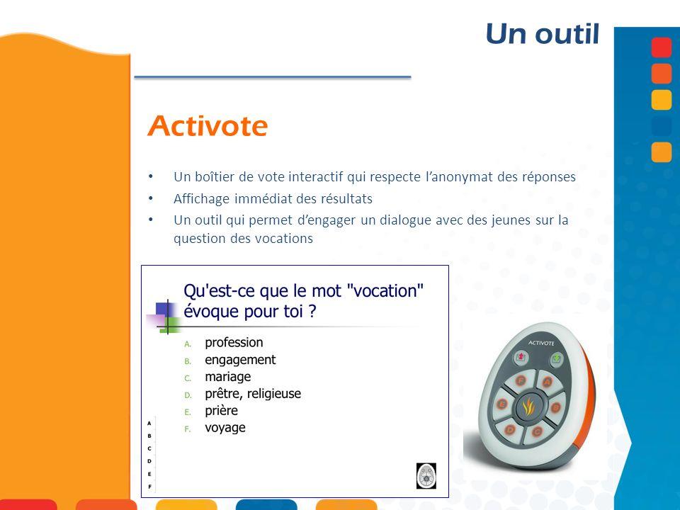 Activote Un outil Un boîtier de vote interactif qui respecte lanonymat des réponses Affichage immédiat des résultats Un outil qui permet dengager un d