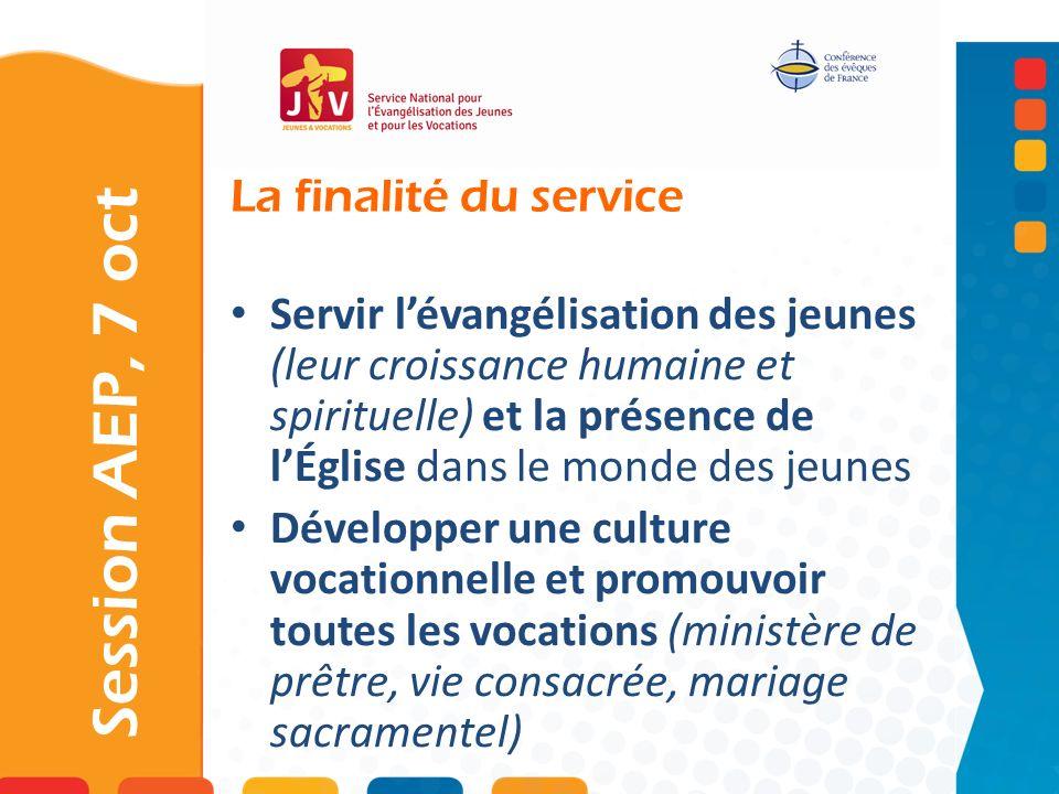 La finalité du service Session AEP, 7 oct Servir lévangélisation des jeunes (leur croissance humaine et spirituelle) et la présence de lÉglise dans le