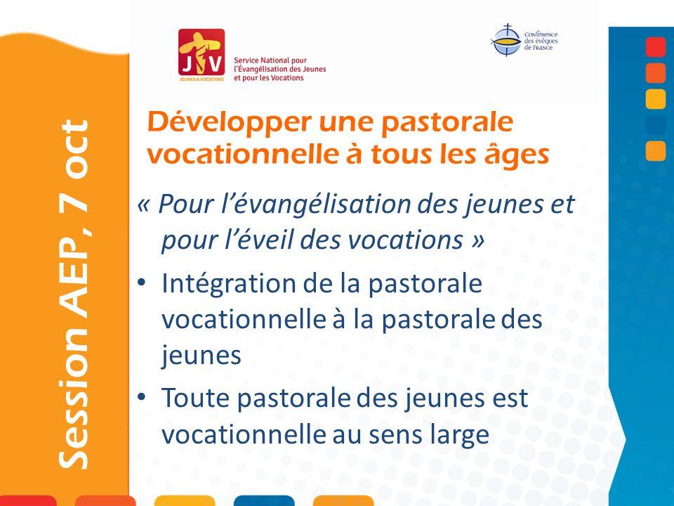 Développer une pastorale vocationnelle à tous les âges Session AEP, 7 oct « Pour lévangélisation des jeunes et pour léveil des vocations » Intégration