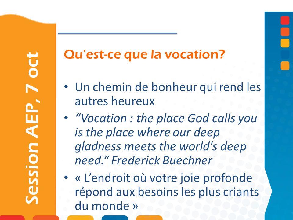 Quest-ce que la vocation? Session AEP, 7 oct Un chemin de bonheur qui rend les autres heureux Vocation : the place God calls you is the place where ou