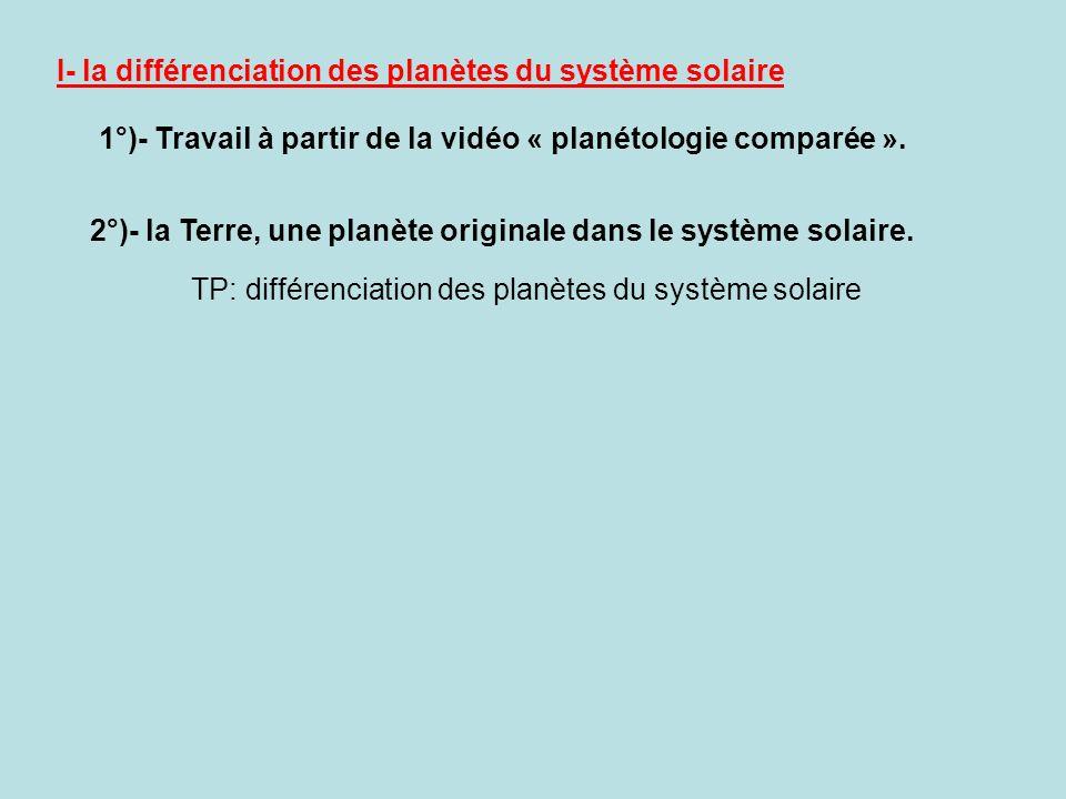 I- la différenciation des planètes du système solaire 1°)- Travail à partir de la vidéo « planétologie comparée ». 2°)- la Terre, une planète original