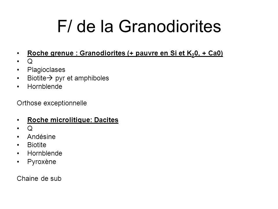 F/ de la Granodiorites Roche grenue : Granodiorites (+ pauvre en Si et K 2 0, + Ca0) Q Plagioclases Biotite pyr et amphiboles Hornblende Orthose exceptionnelle Roche microlitique: Dacites Q Andésine Biotite Hornblende Pyroxène Chaine de sub