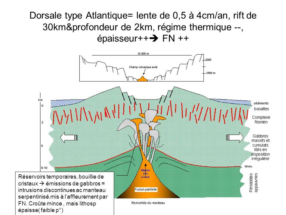 Dorsale type Atlantique= lente de 0,5 à 4cm/an, rift de 30km&profondeur de 2km, régime thermique --, épaisseur++ FN ++ Réservoirs temporaires, bouillie de cristaux émissions de gabbros = intrusions discontinues ac manteau serpentinisé.mis à laffleurement par FN.