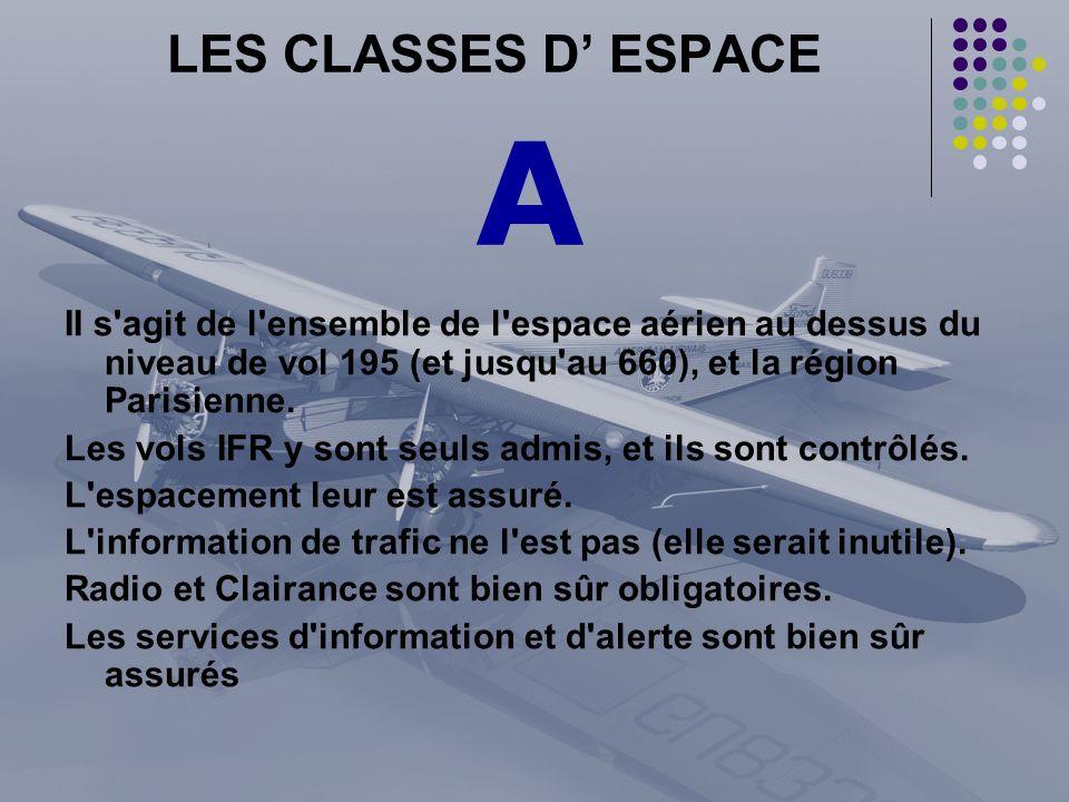 LES CLASSES D ESPACE II s'agit de l'ensemble de l'espace aérien au dessus du niveau de vol 195 (et jusqu'au 660), et la région Parisienne. Les vols IF