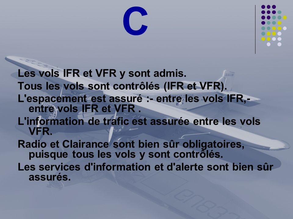 C Les vols IFR et VFR y sont admis. Tous les vols sont contrôlés (IFR et VFR). L'espacement est assuré :- entre les vols IFR,- entre vols IFR et VFR.