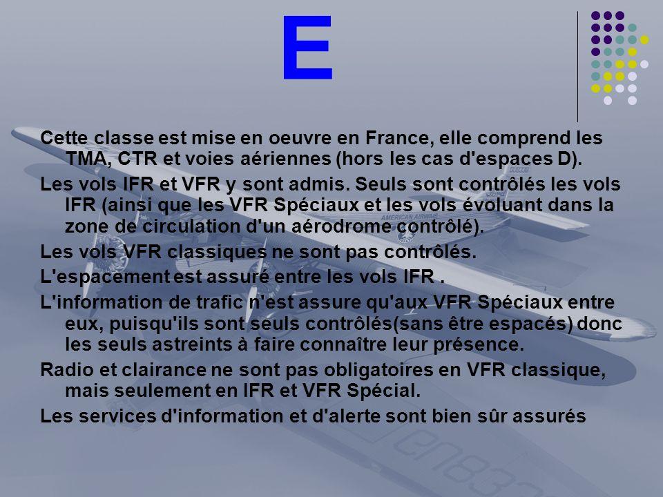 E Cette classe est mise en oeuvre en France, elle comprend les TMA, CTR et voies aériennes (hors les cas d'espaces D). Les vols IFR et VFR y sont admi