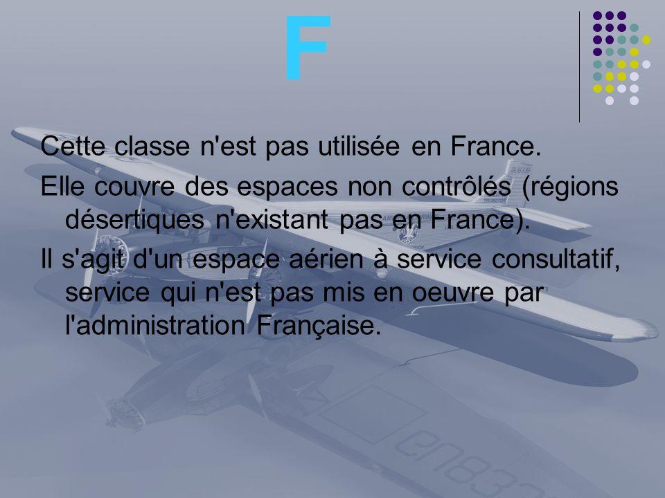 F Cette classe n'est pas utilisée en France. Elle couvre des espaces non contrôlés (régions désertiques n'existant pas en France). Il s'agit d'un espa