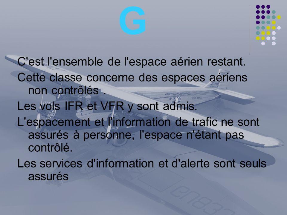 G C'est l'ensemble de l'espace aérien restant. Cette classe concerne des espaces aériens non contrôlés. Les vols IFR et VFR y sont admis. L'espacement