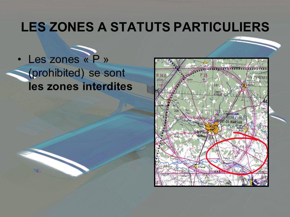 Les zones « P » (prohibited) se sont les zones interdites