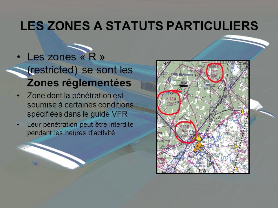 LES ZONES A STATUTS PARTICULIERS Les zones « R » (restricted) se sont les Zones réglementées Zone dont la pénétration est soumise à certaines conditio