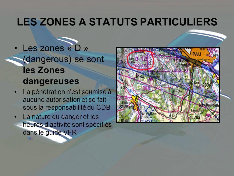 LES ZONES A STATUTS PARTICULIERS Les zones « D » (dangerous) se sont les Zones dangereuses La pénétration nest soumise à aucune autorisation et se fai