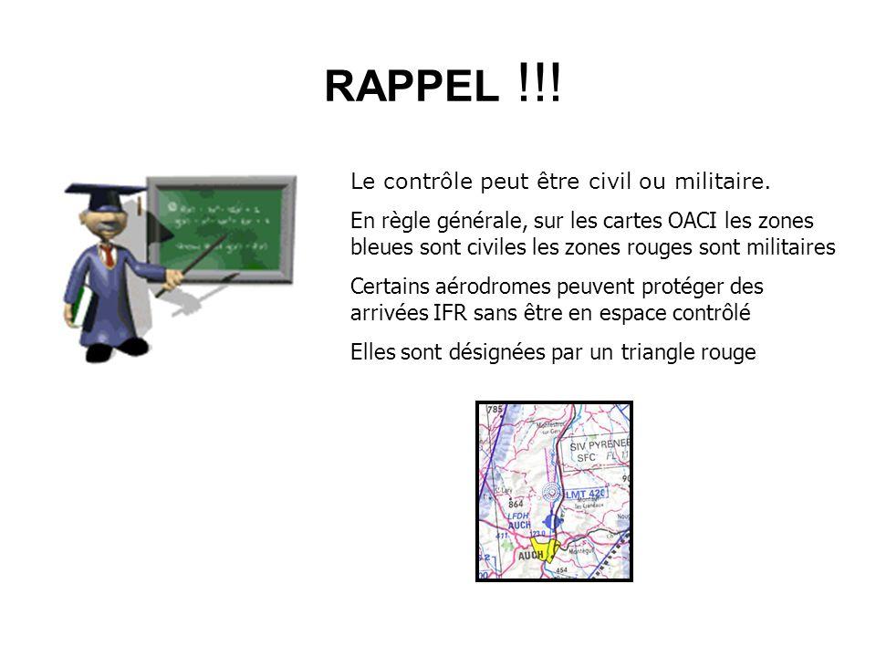 RAPPEL !!! Le contrôle peut être civil ou militaire. En règle générale, sur les cartes OACI les zones bleues sont civiles les zones rouges sont milita