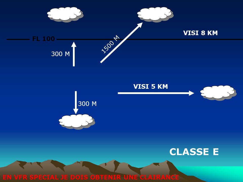 FL 100 CLASSE E 1500 M VISI 8 KM VISI 5 KM 300 M EN VFR SPECIAL JE DOIS OBTENIR UNE CLAIRANCE
