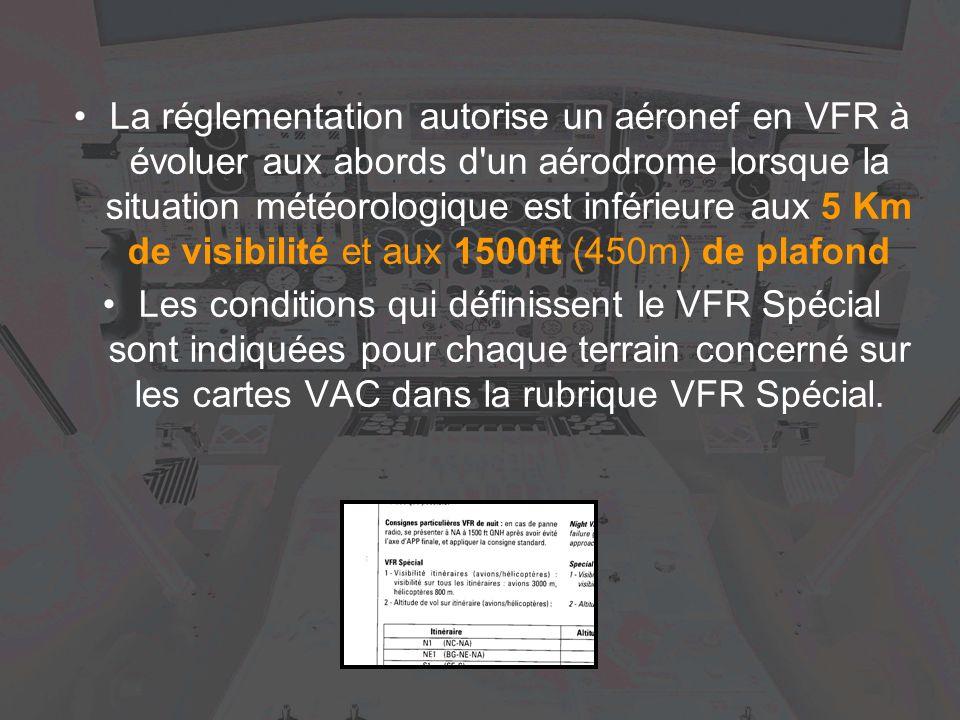 La réglementation autorise un aéronef en VFR à évoluer aux abords d'un aérodrome lorsque la situation météorologique est inférieure aux 5 Km de visibi