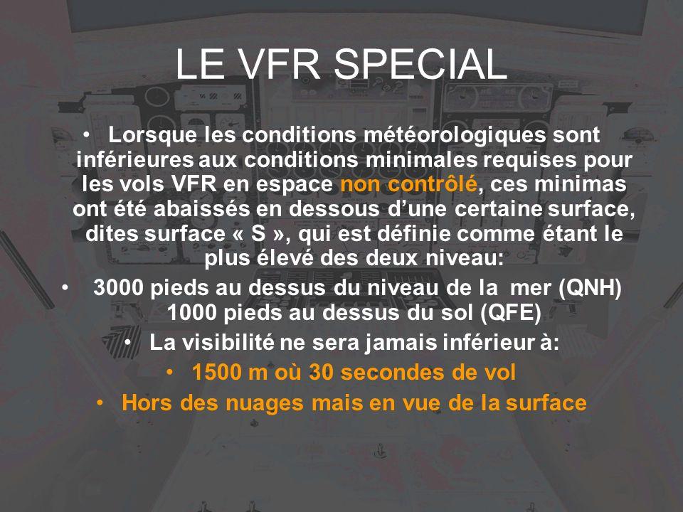 LE VFR SPECIAL Lorsque les conditions météorologiques sont inférieures aux conditions minimales requises pour les vols VFR en espace non contrôlé, ces