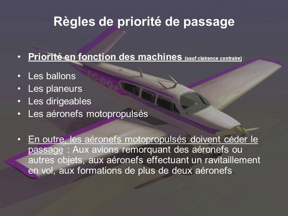Règles de priorité de passage Priorité en fonction des machines (sauf clairance contraire) : Les ballons Les planeurs Les dirigeables Les aéronefs mot