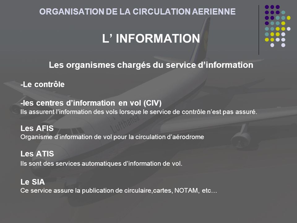 ORGANISATION DE LA CIRCULATION AERIENNE L INFORMATION Les organismes chargés du service dinformation -Le contrôle -les centres dinformation en vol (CI
