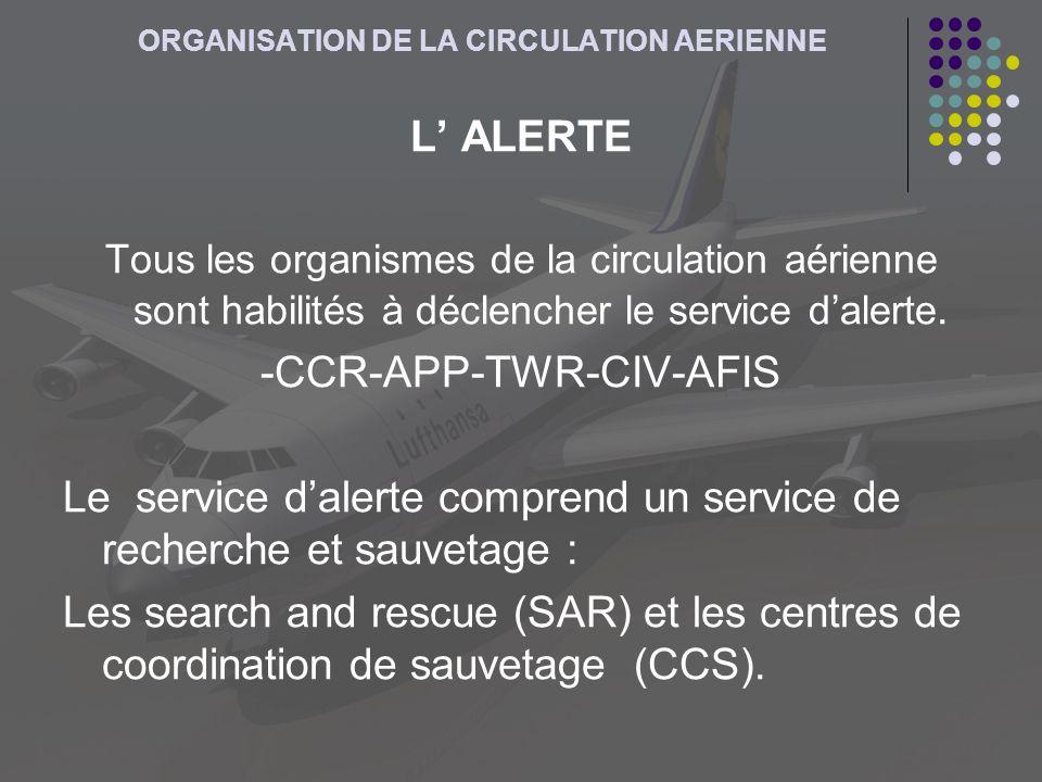ORGANISATION DE LA CIRCULATION AERIENNE L ALERTE Tous les organismes de la circulation aérienne sont habilités à déclencher le service dalerte. -CCR-A