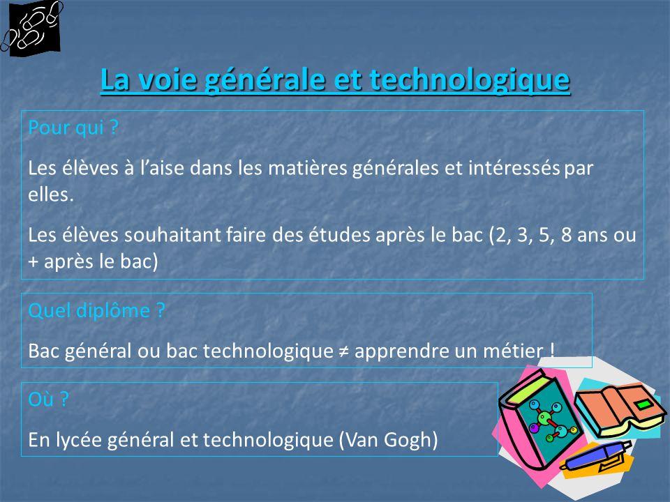 La voie générale et technologique La voie générale et technologique Pour qui ? Les élèves à laise dans les matières générales et intéressés par elles.