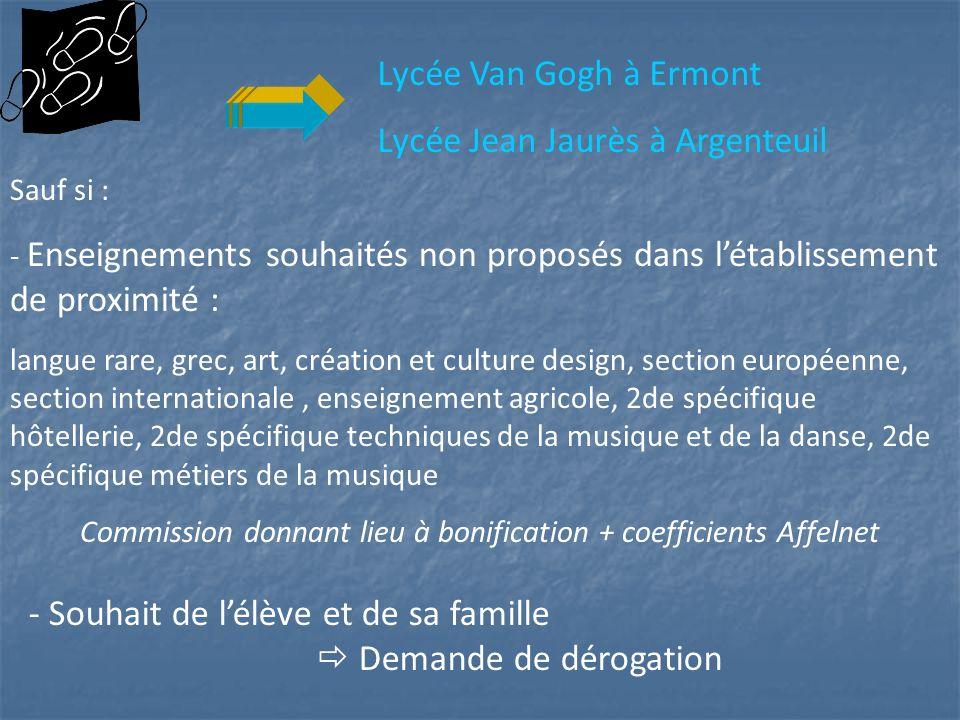 Lycée Van Gogh à Ermont Lycée Jean Jaurès à Argenteuil Sauf si : - Enseignements souhaités non proposés dans létablissement de proximité : langue rare