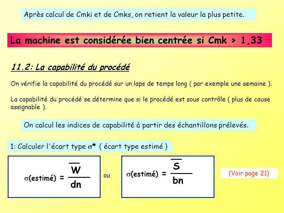 Après calcul de Cmki et de Cmks, on retient la valeur la plus petite. La machine est considérée bien centrée si Cmk > 1,33 11.2: La capabilité du proc