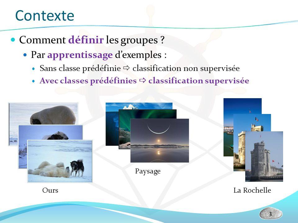 Contexte Comment définir les groupes ? Par apprentissage dexemples : Sans classe prédéfinie classification non supervisée Avec classes prédéfinies cla