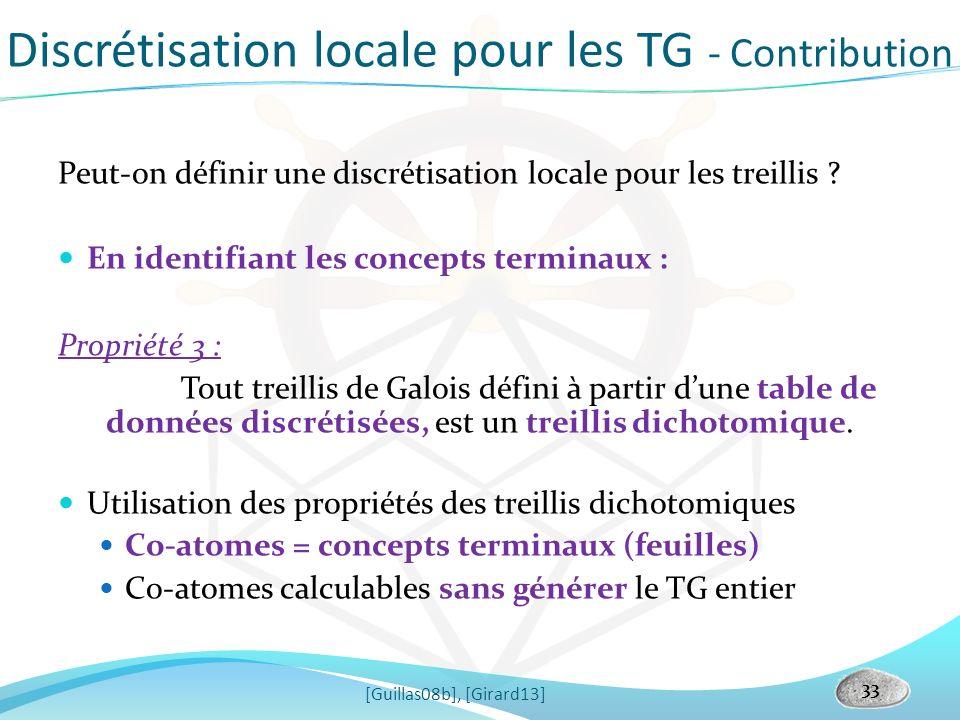 Discrétisation locale pour les TG - Contribution [Guillas08b], [Girard13] 33 Peut-on définir une discrétisation locale pour les treillis ? En identifi