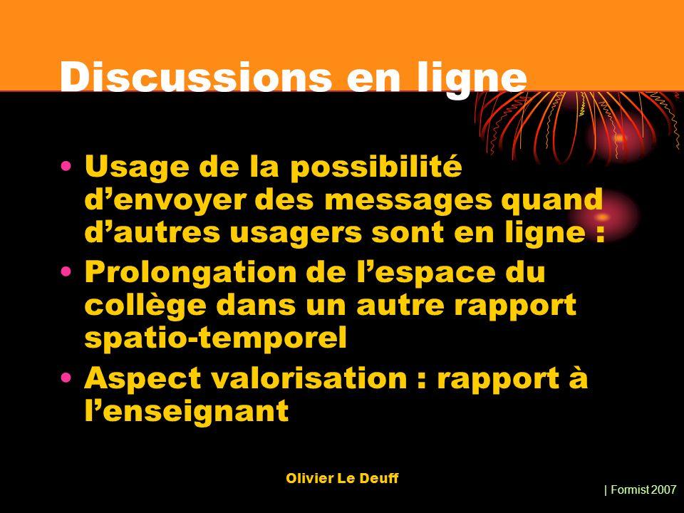 | Formist 2007 Olivier Le Deuff Discussions en ligne Usage de la possibilité denvoyer des messages quand dautres usagers sont en ligne : Prolongation