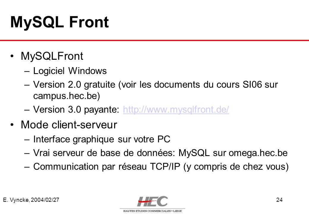 E. Vyncke, 2004/02/2724 MySQL Front –Logiciel Windows –Version 2.0 gratuite (voir les documents du cours SI06 sur campus.hec.be) –Version 3.0 payante: