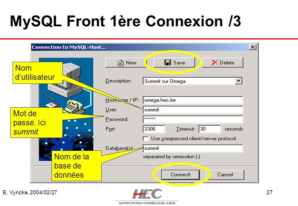 E. Vyncke, 2004/02/2727 MySQL Front 1ère Connexion /3 Nom de la base de données Nom dutilisateur Mot de passe. Ici summit
